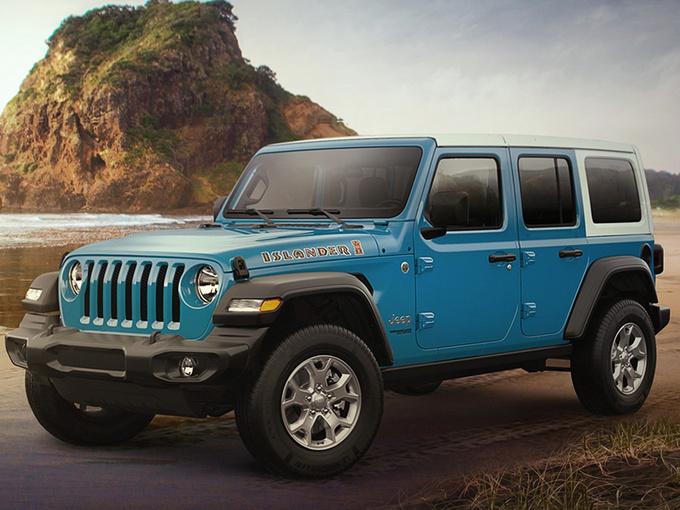 "Jeep推牧马人特别版 蓝色涂装/配""Islander""标识"