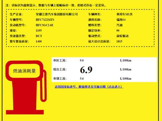 瑞风S4将推出1.2T车型 百公里油耗6.9L