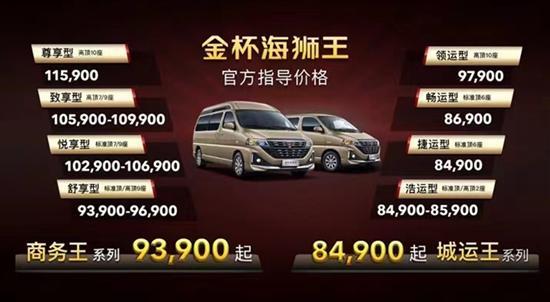 华晨雷诺金杯海狮王上市 售8.49万元起