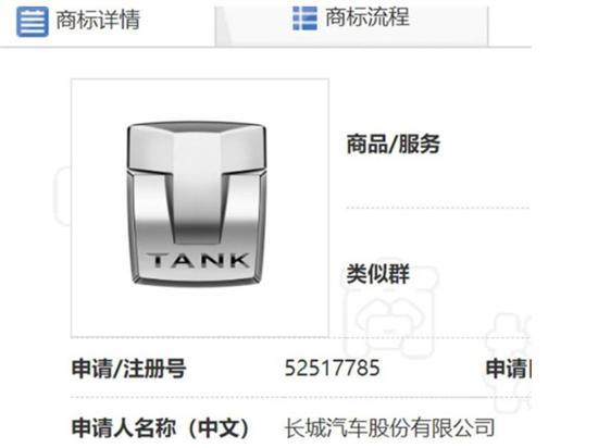 长城注册坦克LOGO 打造第二个高端品牌